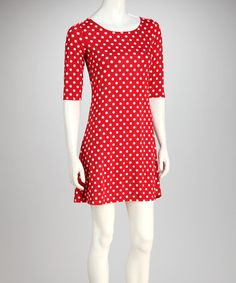 Take a look at this Red & White Polka Dot Low-Back Dress by Star Vixen on #zulily today!