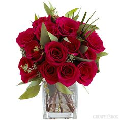 Red Rose Bouquet Bouquet w/Vase    Valentine's Day is just 1 week away - send flowers near and far to the ones you love!