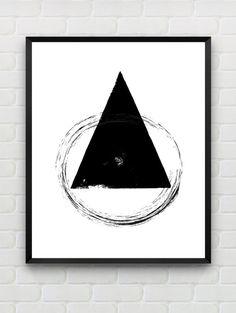 Brush Stroke Art Minimalist Print Black and White door Designsbyritz