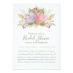 Spring Watercolor Bouquet Bridal Shower Card - purple floral style gifts flower flowers diy customize unique