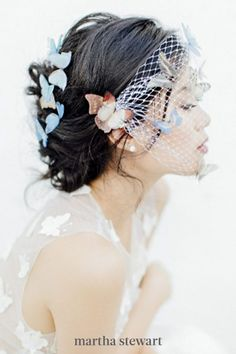 This classic veil option might be known as the birdcage, but this Butterfly Story veil is all about the butterflies. The colorful little creatures looked incredibly life-like; positioned on top of the veil and embedded into the bride's romantic updo. #weddingideas #wedding #marthstewartwedding #weddingplanning #weddingchecklist Chapel Length Veil, Romantic Updo, Vintage Veils, Nontraditional Wedding, Blue Wedding Dresses, Bohemian Bride, Wedding Veils, Wedding Accessories, Weddingideas