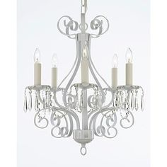 Shop for Wrought Iron and Crystal 5 Light White Chandelier Pendant. Get free shipping at Overstock.com - Your Online Home Decor Outlet Store! Get 5% in rewards with Club O!