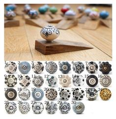 Our classic ceramic knobs with various hand painted patterns and designs attached to a handmade wooden door stop. The decorative knobs measure: 4cm in diameter (1.6 inches), 1.8cm high (0.7 inches). Whilst the door stop is 1.5cm high x 10cm long. All our spherical shaped knobs, and most of our melon shaped knobs, can be fitted to our wooden door stops. If there is a design of knob that you would like to have on our wooden door stops, that is not shown here, please just contact us and we…
