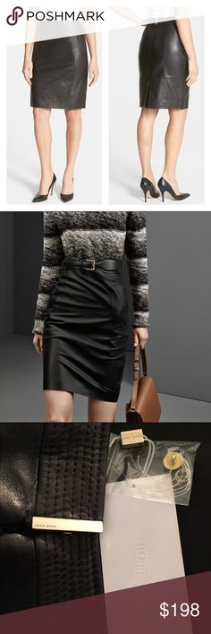 """NWT BOSS Lamb Leather Pencil Skirt A slim skirt paneled from exquisitely soft lambskin leather brings an of-the-moment edge to your work wardrobe. Beautiful hardware detailing with logo engraving as shown. Brand new with all tags and spare button/thread baggy attached. 22"""" length. Hidden zip/snap closure in back. Back vent. Fully lined. Leather. Professional leather clean. By Hugo Boss; imported. Studio 121. Hugo Boss Skirts Pencil"""