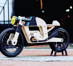Lawless Bikes makes kids' wooden balance bicycles designed to look like cafe racers. There are two designs, one inspired by BMW bikes and one inspired by Wooden Cafe, Wooden Bicycle, Wood Bike, Kids Bicycle, Mini Bici, Balance Bicycle, Cafe Racing, Handmade Wooden Toys, Bike Shed
