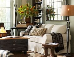 "Decorating Small Spaces & Small Space Ideas Room 10 | Pottery Barn    Multiple mirrors on wall in ""green room"" makes it feel more like a conservatory"