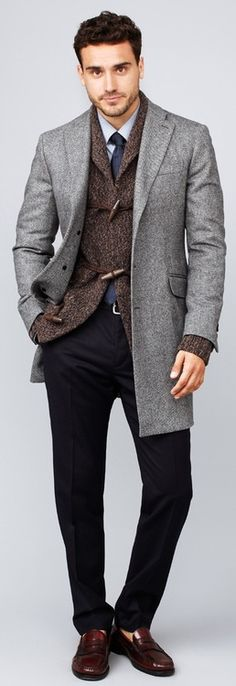 Gray Wool Overcoat, Brown Tweed Toggle Closure Jacket.Tie, and Black Chinos. Mens Fall/Winter Fashion.