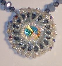 Swarovski crystal and seed bead pendant necklace.    sarah@crystalpaintbrush.com