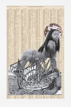 Godfried Donkor - young madonna, collage on paper, 64x48cm, 2004