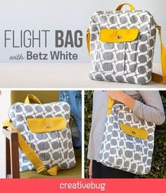 Learn how to make this super cute flight bag. This structured bag offers great opportunities to learn all about bag construction and finishing.