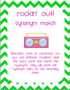 Rockin' Out! Synonym Match freebie!!!
