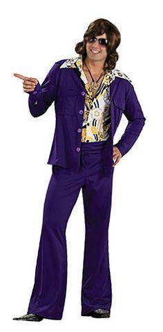 Déguisement disco violet :  veste velour et pantalon patte d'ehp' pour avoir la classe !