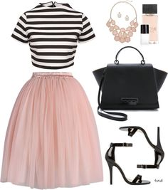 Glamorous crop top, pink skirt, black sandals, black tote bag, pink necklace, pearl earrings and white nail polish.