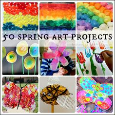 A huge collection of amazing spring art projects for kids to try! Includes ideas for rainbows, insects and birds, Easter, flowers, and super colorful spring art. These spring art projects will be a great addition to any spring lesson plans you're writing.
