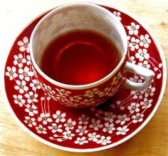 HYbiscus Tea in red Teacup.