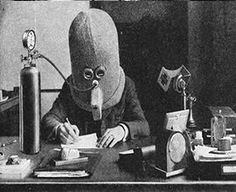 The Isolator Helmet! Humanity's Most Hilarious Attempt to Keep Workers Focused - retro pin Science Fiction, Reducing Blood Pressure, Power Nap, Office Gadgets, Big Noses, The Orator, Modern Times, Ancient Romans, Best Funny Pictures