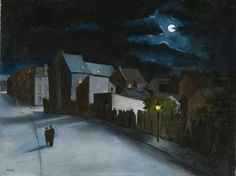 André Poffé (1911-1990) - Couple in the street at moonlight