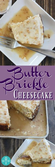 Butter Brickle Cheesecake - A super indulgent cheesecake recipe! A rich cheesecake studded with almond brickle and butterscotch chips, then topped with cream cheese frosting and smothered with a sweet brickle sauce. | www.worthwhisking.com
