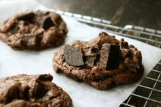 Double chocolate chunk cookies from Serious Eats. Not in the least healthy, but these would be the perfect chocoholic cookie when desperately needed.