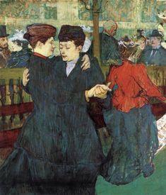 centuriespast:    TOULOUSE-LAUTREC, Henri deAt the Moulin Rouge: Two Women Waltzing1892Oil on cardboard, 93 x 80 cmNárodní Galerie, Prague