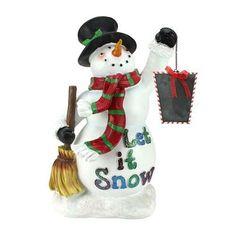 "18"" Festive Snowman Holding Broom and Blackboard Christmas Countdown Figure"