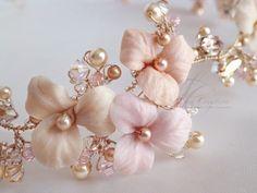 Pink Tones Floral Bouquet Bridal Gold Headband Floral