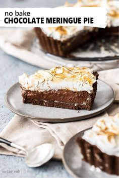 This deep dish, No Bake Chocolate Meringue Pie is like chocolate pudding pie topped off with a sweet cloud of easy no-bake marshmallow topping. An easy Tim Tam cookie base and a rich, creamy and smooth chocolate custard centre. #sugarsaltmagic #chocolatepie #chocolatemeringuepie #meringuepie #chocolatepudding