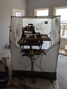 Saw shack. Little tent that lets me use my wet tile saw indoors - specializedtools Best Circular Saw, Building A House, Build House, Porter Cable, Tile Saw, Cabinet Makers, Good Job, Drafting Desk, Tent