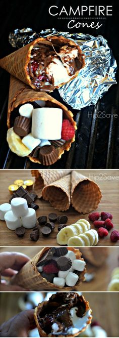 Campfire Cones filled with marshmallows, chocholate, bananas and so much more. Y… Campfire Cones filled with marshmallows, chocholate, bananas and Easy Summer Desserts, Just Desserts, Delicious Desserts, Dessert Recipes, Yummy Food, Tasty, Camping Desserts, Camping Foods, Family Camping