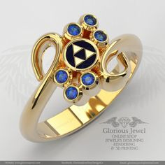 Glorious Zelda inspired ring with CZ stone and Enamel / 925 silver / 14K Gold / Custom made / FREE SHIPPING / Made to Order