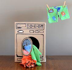 DIY ll Cardboard Washing Machine for Kids by Estéfi Machado #diy #cardboard #washingmachine