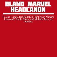 No one is more terrified than Clint when Natasha Romanoff, Bobbi Morse and Melinda May are together.