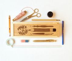 Stationery Box Make a Mark pine and birch handmade pencil box office set starter kit laser engraved with illustration