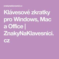 Klávesové zkratky pro Windows, Mac a Office Mac, Windows, Ramen, Poppy, Window