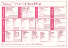 bellabox travel checklist preview
