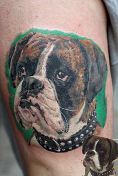 If you want to show off your love of a special dog, or of dogs in general, these 20 incredible dog tattoos will sure do the trick. Bff Tattoos, Love Tattoos, Tattoos For Guys, Amazing Tattoos, Tatoos, Boxer Dog Tattoo, Boxer Dogs, Boxers, Cute Little Dogs