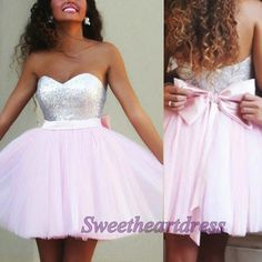 2016 cute pink tulle sequins strapless mini prom dress with bowknot, cute dress for teens,short homecoming dress -> sweetheartdress.s... #coniefox #2016prom