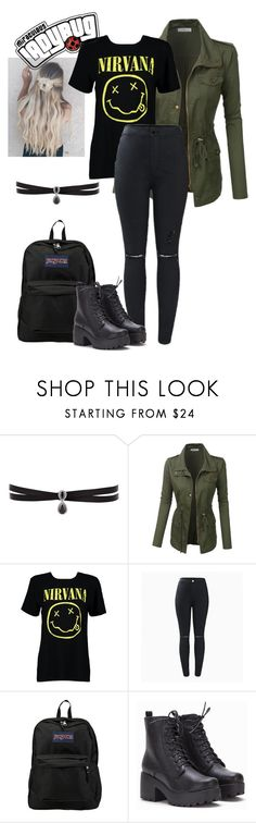 """""""bee"""" by red1312 ❤ liked on Polyvore featuring Fallon, LE3NO, Boohoo and JanSport"""