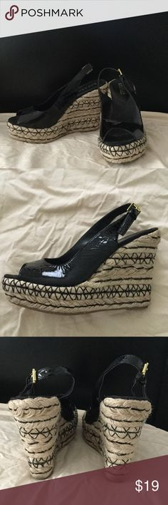 Ralph Lauren Rope Wedges in tan and black Sz 8.5 Fun chunky wedges by Ralph Lauren, Worn only once, they were just a little too big for me Ralph Lauren Shoes Wedges