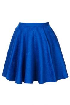 TopShop - Jacquard Full Swing Skirt  Jacquard Full Swing Skirt      Price: £35.00     Colour: BLUE     Item code: 36J16DBLE  4 out of 5 4 out of 5 1 review Write a review  Above the knee length skirt, with all over Jacquard detail and side pockets 51% Cotton,49% Polyester. Wash with similar colours.