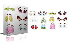 Cartoon Eyes Vector Expressions by TrueMitra Designs on @creativemarket