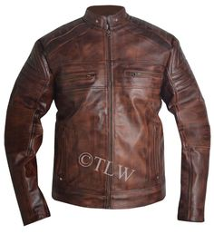 The Leather wears present this stunning motorcycle cafe racer distress brown leather jacket. This style qualifise to wear in party or as casual wearing. The jacket is available in best quality sheep leather. | eBay!