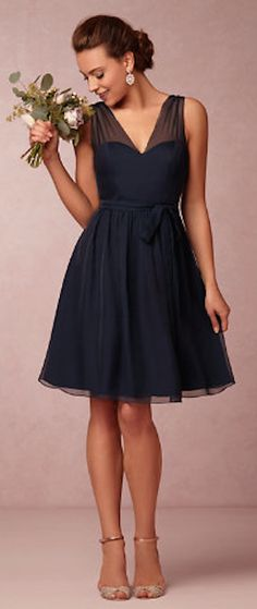 sweet navy chiffon bridesmaid dress