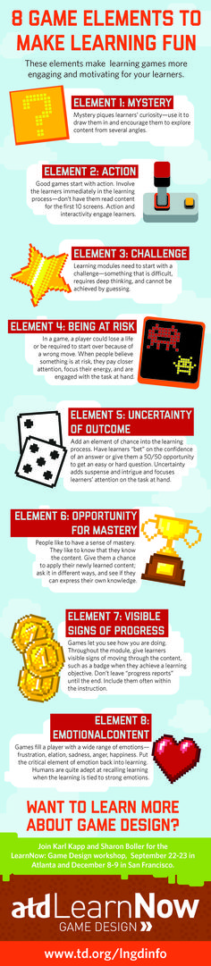 This infographic illustrates eight elements that make games for fun and engaging for learners. If you like UX, design, or design thinking, check out theuxblog.com