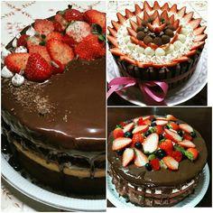 Naked Cake morango e chocolate  Kit Kat morango, suspiro e chocolate  Naked Cake morango e chocolate