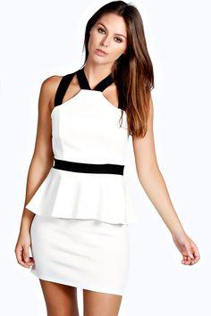 Eliza Contrast Strap Peplum Dress Product code: azz27396 £20.00  http://www.boohoo.com/restofworld/clothing/dresses/icat/dresses/new-in/eliza-contrast-strap-peplum-dress/invt/azz27396