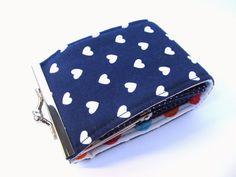 Credit card wallet Indigo Navy blue hearts Love Colourful Business card case Frame purse. €15,00, via Etsy.