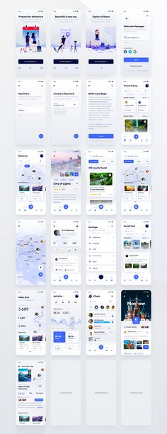 Started as a personal passion project this UI Kit will help you kick-start your Travel-related app. The design is flexible and can be adopted for social or dating applications. You will find 44 total Ui Design Tutorial, Kit Design, Layout Design, Design Food, Design Ui, Best Ui Design, Android App Design, Ios App Design, Iphone App Design