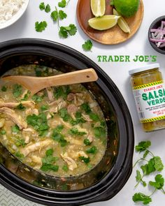 Two jars of Trader Joe's Salsa Verde, two pounds of Trader Joe's Chicken Thig. Ww Recipes, Slow Cooker Recipes, Mexican Food Recipes, Crockpot Recipes, Soup Recipes, Chicken Recipes, Dinner Recipes, Cooking Recipes, Healthy Recipes