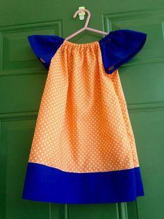 6/9 month  Orange polka dot Royal blue Coordinating Fabric